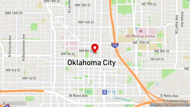 Google Map of 127 NW 7th Street (at Robinson), Oklahoma City, OK 73102