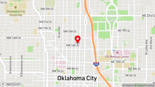 Google Map of 222 NW 15th St., Oklahoma City, OK 73103