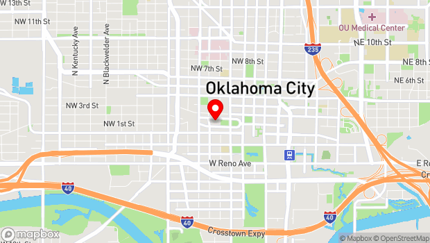Google Map of 201 N Walker Ave, Oklahoma City, OK 73102