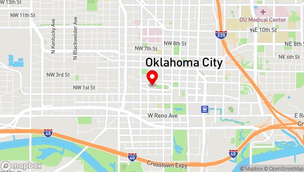 Google Map of 201 N Walker Ave, Oklahoma City, OK 73102