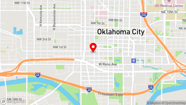 Google Map of 806 W Main St., Oklahoma City, OK 73106