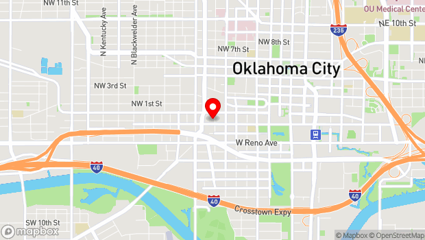 Google Map of 901 W Sheridan Ave., Oklahoma City, OK 73106