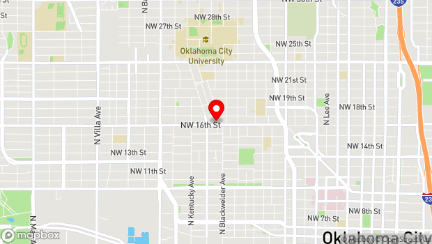 Google Map of 1727 NW 16th St., Oklahoma City, OK 73106
