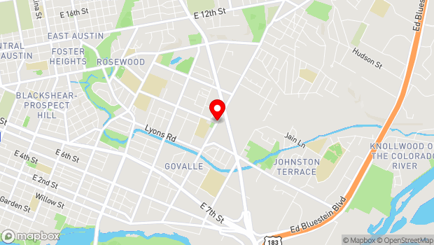 Google Map of Springdale Rd, Austin, TX 78702