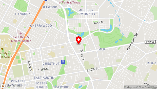 Google Map of 2200 Tillery St, Austin, TX 78723