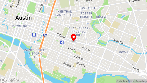 Google Map of 1805 East 7th Street, Austin, TX 78702