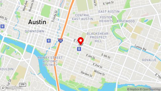 Google Map of 1500 East 6th Street, Austin, TX 78702
