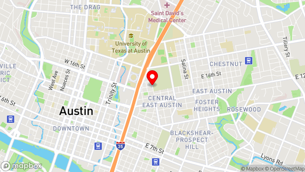 Google Map of 1601 Navasota Street, Austin, TX 78702