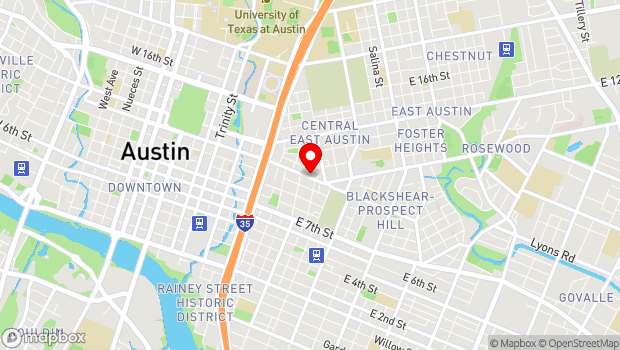Google Map of 1106 East 11th Street, Austin, TX 78702
