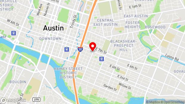 Google Map of 1111 E 6th St , Austin, TX 78702