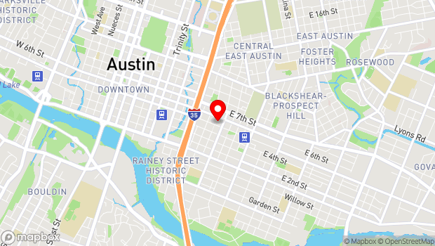 Google Map of 1100 East 5th Street, Austin, TX 78702
