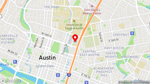 Google Map of 1701 Red River St, Austin, TX 78701