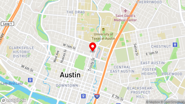Google Map of 1607 San Jacinto Blvd, Austin, TX 78701