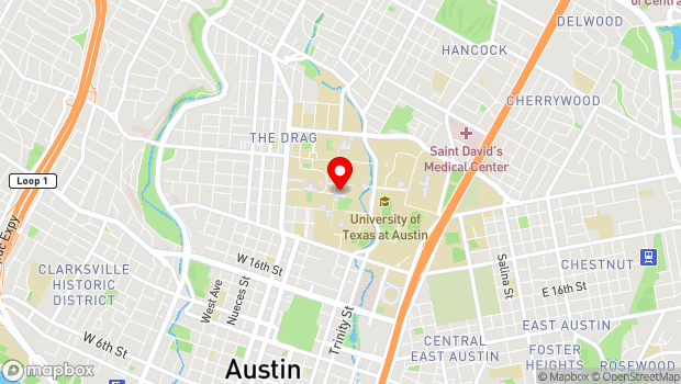 Google Map of 2201 Speedway, Austin, TX 78712
