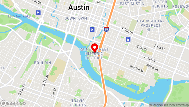 Google Map of 73 Rainey st, Austin, TX 78704