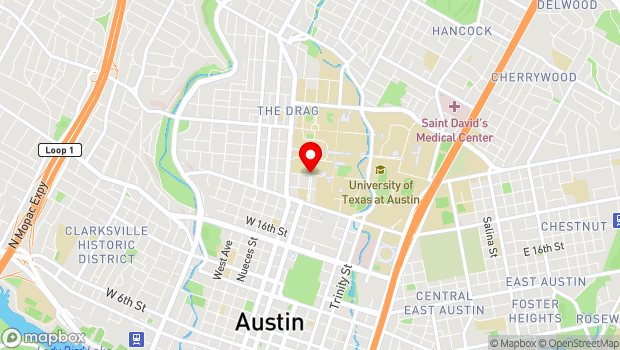 Google Map of 21st and University Ave., Austin, TX 78712