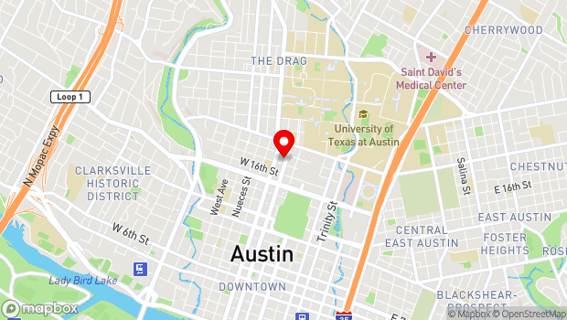 Google Map of 1710 Lavaca Street, Austin, TX 78701