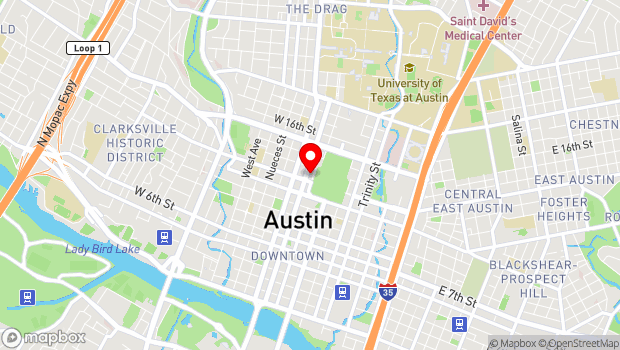 Google Map of 1201 Lavaca St, Austin, TX 78705