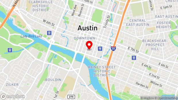 Google Map of 110 E 2nd St., Austin, TX 78701