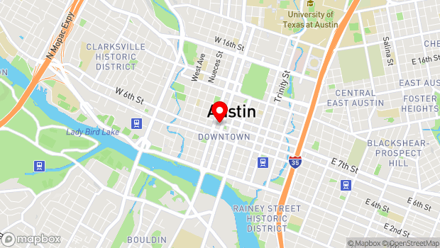 Google Map of 311 W 7th Street, Austin, TX 78701