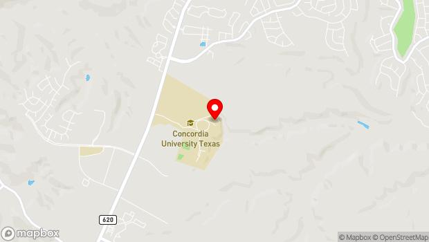 Google Map of 11400 Concordia University Drive, Austin, TX 78726