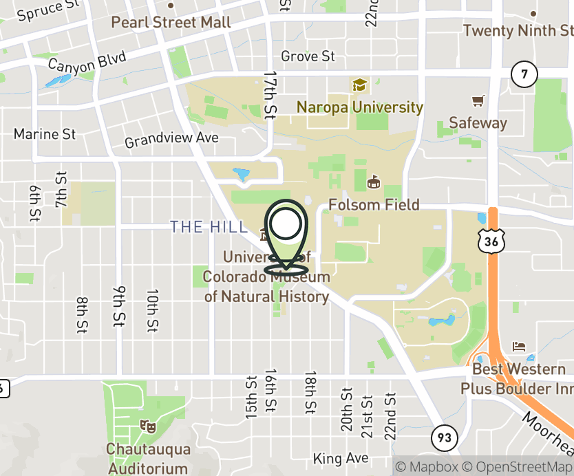 Map with pin near 1669 Euclid Ave., Boulder, CO 80309 for UMC - Boulder (Univ. of CO).