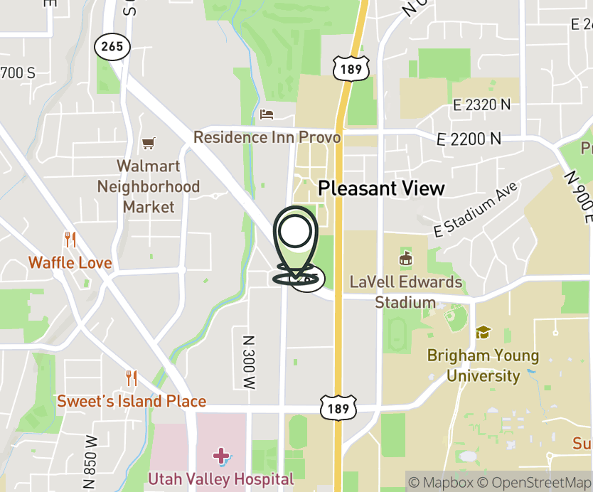 Map with pin near 1774 N. University Pkwy, Provo, UT 84604 for Provo.