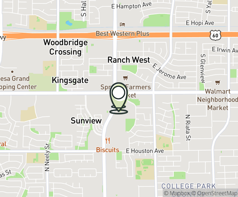 Map with pin near 1555 N. Gilbert Rd., Gilbert, AZ 85234 for Gilbert.