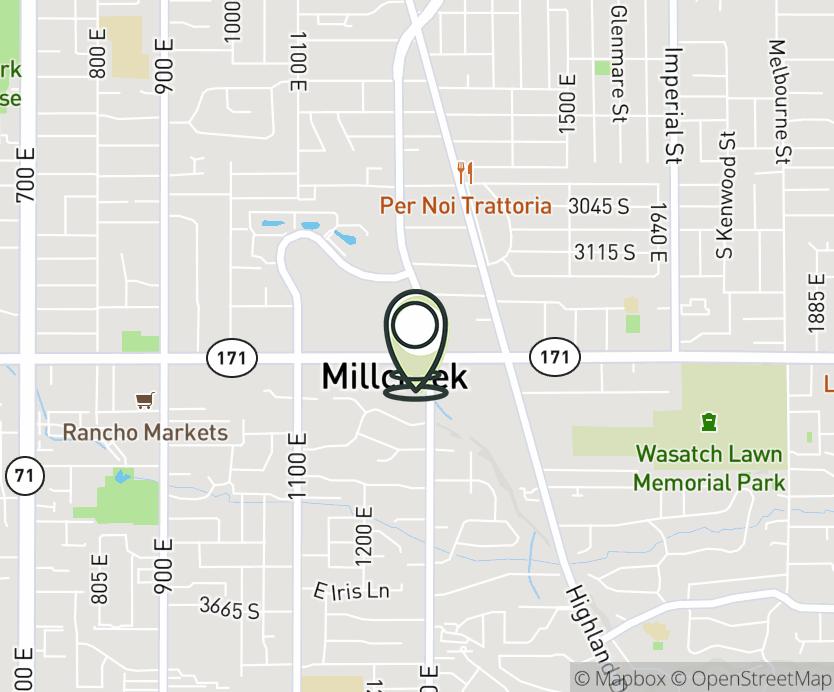 Map with pin near 3294 S. 1300 E., Salt Lake City, UT 84106 for Brickyard.