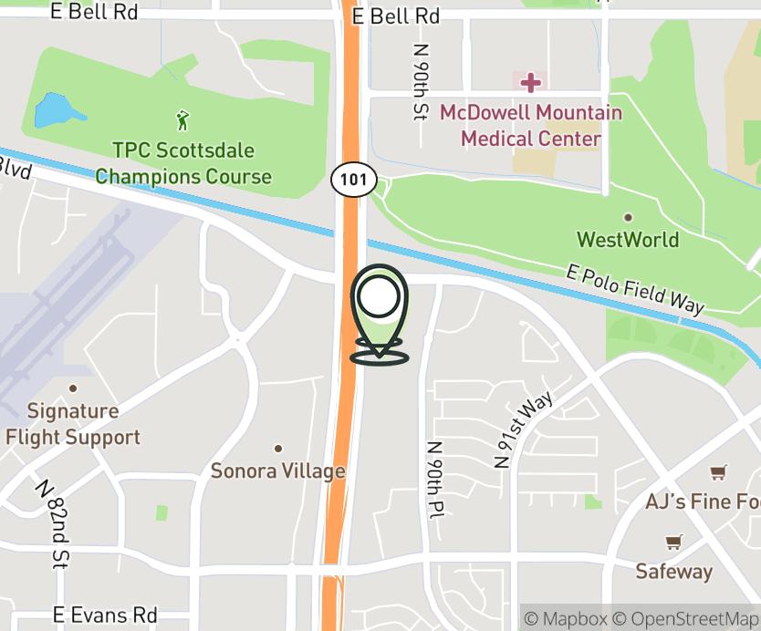 Map with pin near 15686 N. Frank Lloyd Wright Blvd, Scottsdale, AZ 85260 for Scottsdale Town Center.