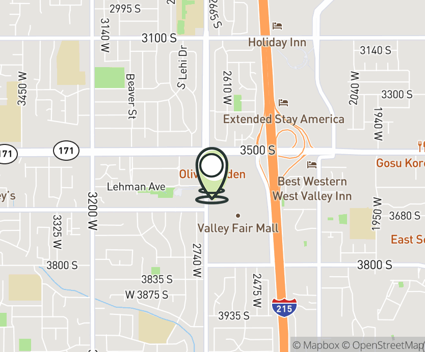 Map with pin near 3567 Constitution Blvd., West Valley City, UT 84119 for Valley Fair Mall - UT.
