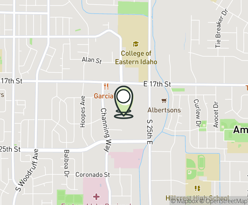 Map with pin near 2300 E 17th St, Idaho Falls, ID 83404 for Grand Teton Mall.