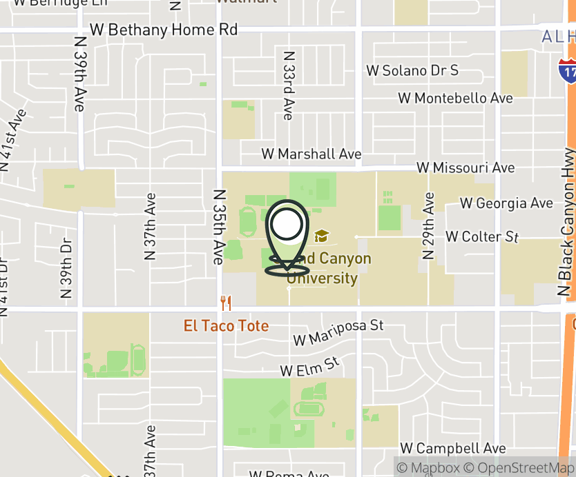 Map with pin near 3300 West Camelback Rd, Phoenix, AZ 85017 for Grand Canyon University.