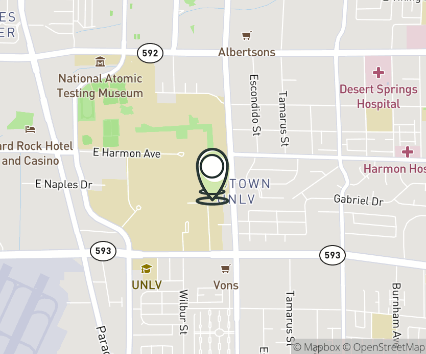 Map with pin near UNLV Student Union Bldg., Las Vegas, NV 89154 for UNLV.