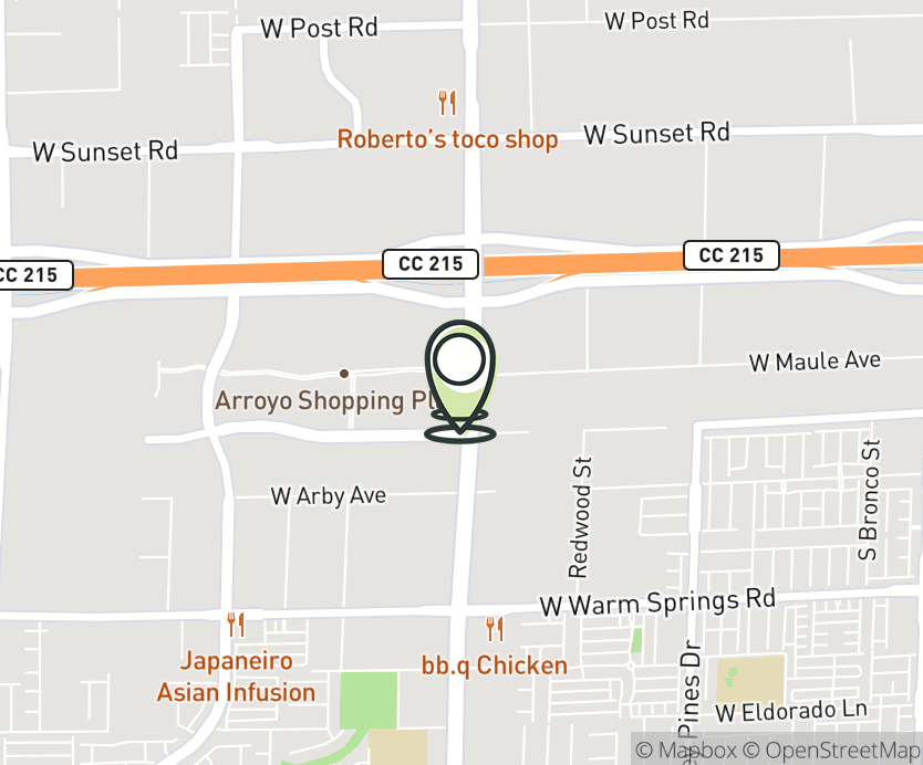 Map with pin near 6925 S. Rainbow Blvd, Las Vegas, NV 89119 for Rainbow Badura.