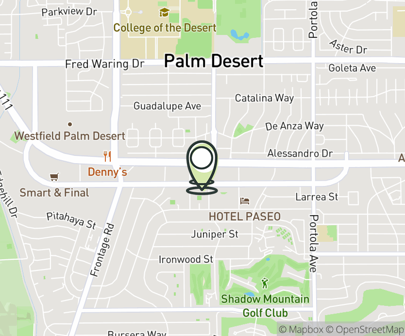 Map with pin near 73-399 Highway 111, Palm Desert, CA 92260 for El Paseo Square.