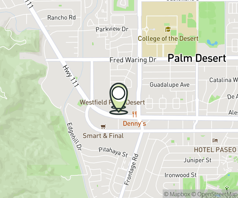 Map with pin near 72840 Hwy 111, Palm Desert, CA 92260 for Palm Desert Mall.