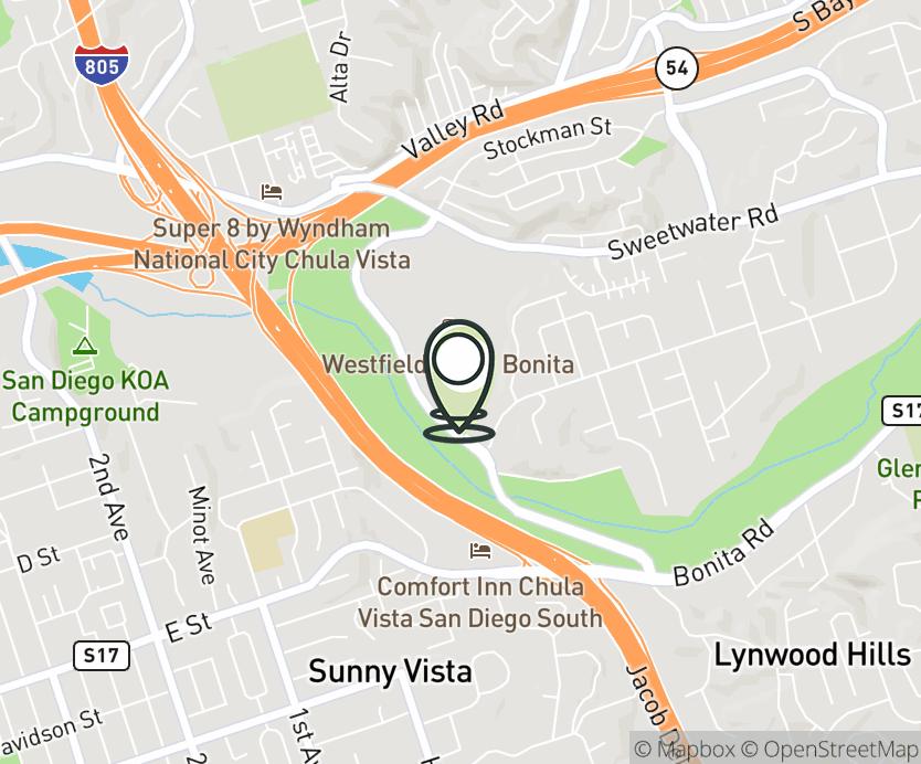 Map with pin near 3030 Plaza Bonita Rd, National City, CA 91950 for Plaza Bonita Mall.