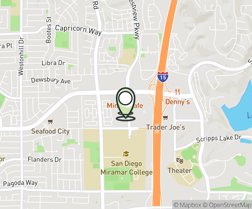 Map with pin near 10724 Westview Pkwy, San Diego, CA 92126 for Mira Mesa Marketplace.