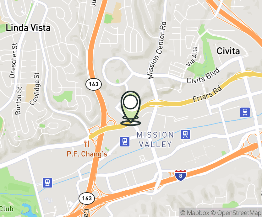 Map with pin near 5638 Mission Center Rd., San Diego, CA 92108 for Mission Valley.