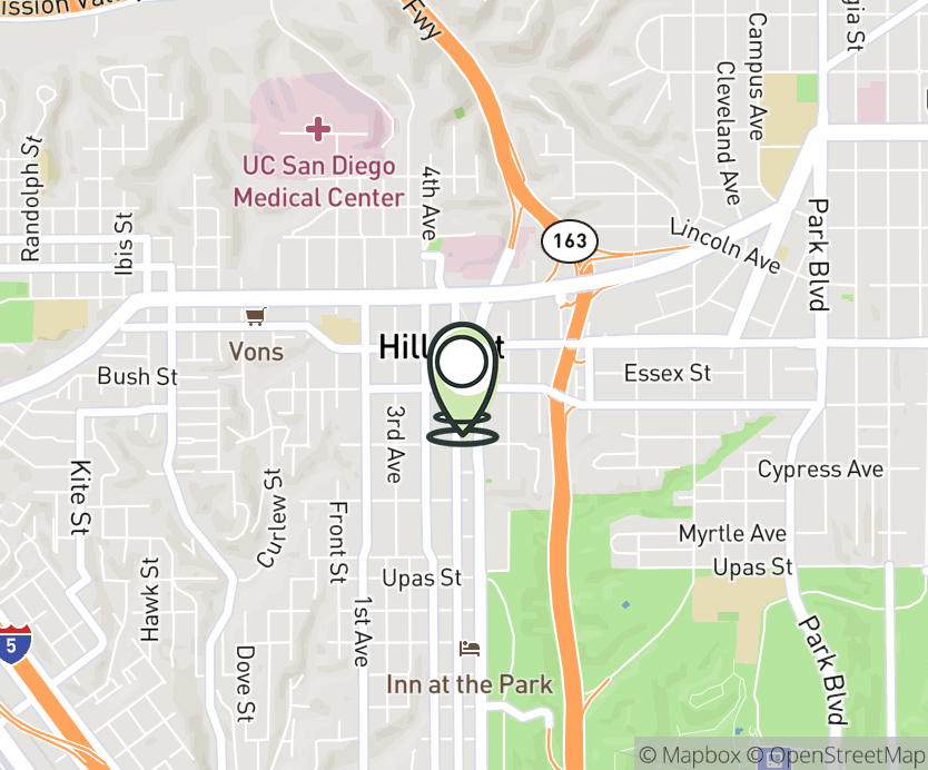 Map with pin near 510 Robinson Ave., San Diego, CA 92103 for Hillcrest.