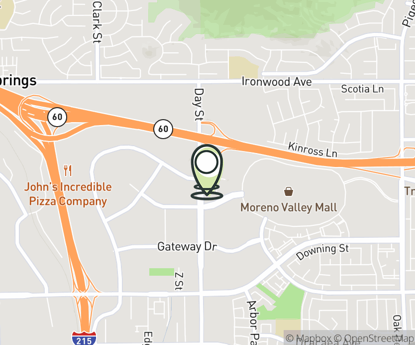 Map with pin near 12430 Day St., Moreno Valley, CA 92553 for Towngate Crossing.