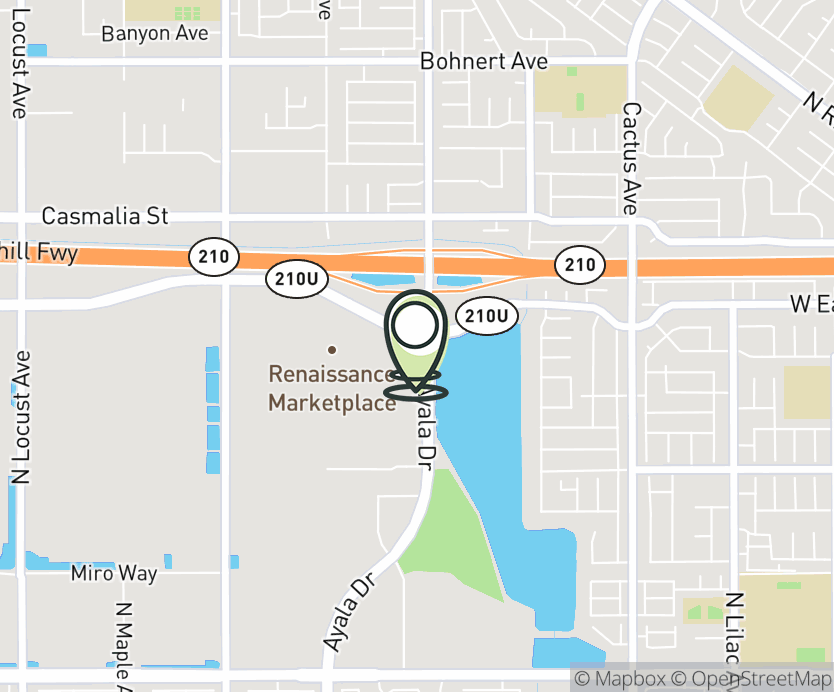 Map with pin near 1155 West Renaissance Parkway, Rialto, CA 92376 for Renaissance Marketplace.