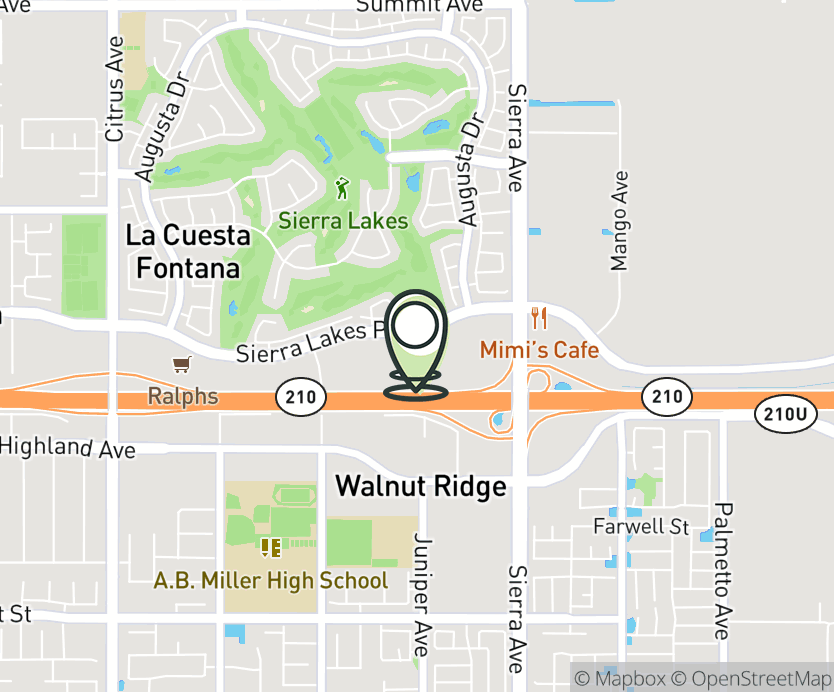 Map with pin near 16635 Sierra Lakes Parkway, Fontana, CA 92336 for Sierra Lakes Marketplace.