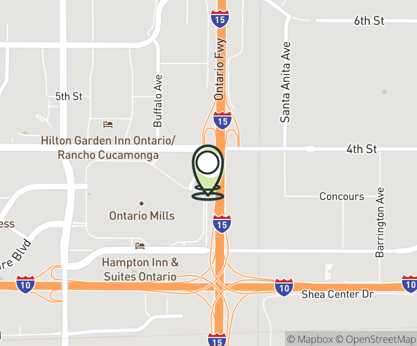 Map with pin near 990 Ontario Mills Drive, Ontario, CA 91762 for Daybreak Plaza.