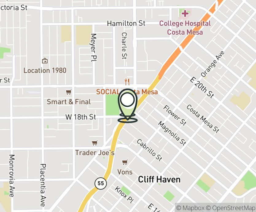 Map with pin near 1835 Newport Blvd., Costa Mesa, CA 92627 for Costa Mesa.