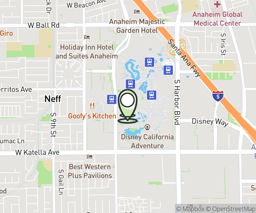 Map with pin near 1570 S. Disneyland Dr., Anaheim, CA 92802 for Downtown Disney.