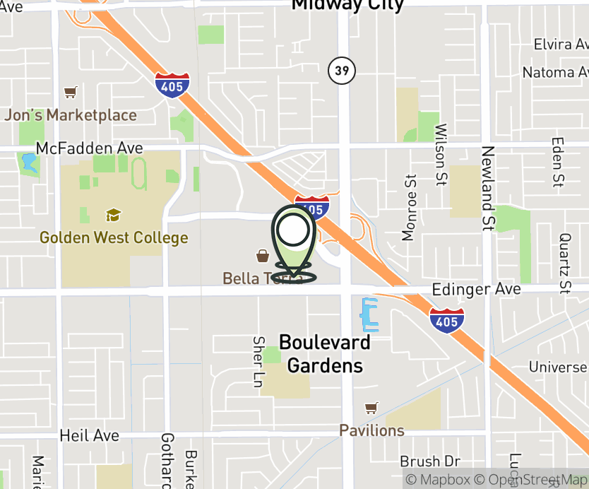 Map with pin near 7821 Edinger Ave., Huntington Beach, CA 92647 for Bella Terra.