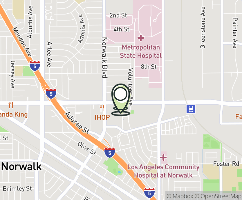 Map with pin near 12305 Imperial Hwy, Norwalk, CA 90650 for Civic Center Plaza.