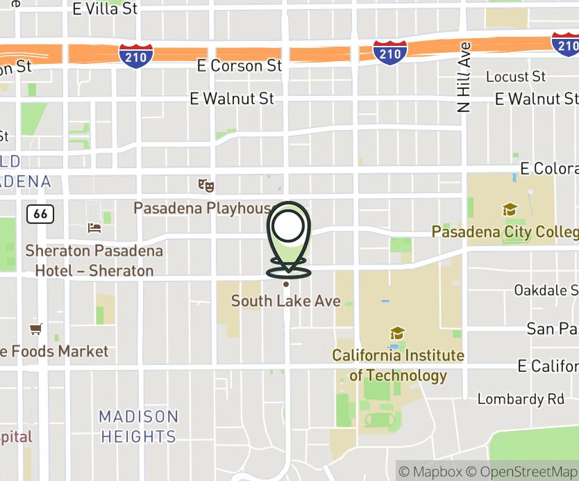 Map with pin near 204 S. Lake Ave., Pasadena, CA 91101 for S. Lake.